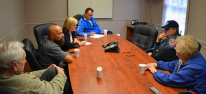 One of many emergency management meetings at the Fanwood Police Dept during the storm