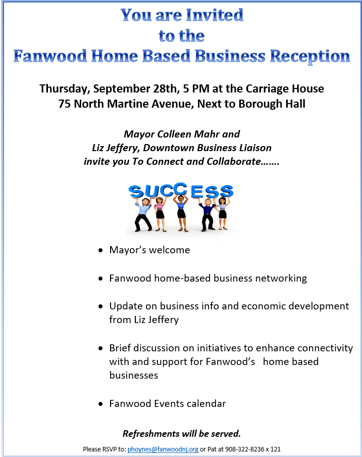Fanwood Home-Based Business Reception – Borough of Fanwood